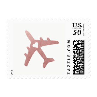 Rose Gold Airplane Heart Destination Wedding Stamp