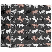 Rose Gold and Black and White Marble Modern Horses Binder