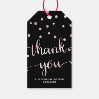 Rose Gold and Black | Glam Bridal Shower Thank You Gift Tags