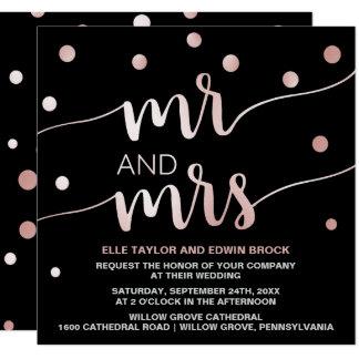 Rose Gold and Black | Glam Confetti Square Wedding Card
