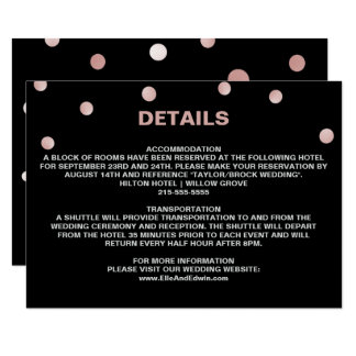 Rose Gold and Black Glam Confetti Wedding Details Card