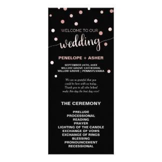 Rose Gold and Black Glam Confetti Wedding Program