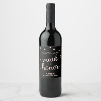 Rose Gold and Black | Glam Maid of Honor Proposal Wine Label