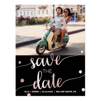 Rose Gold and Black | Glam Save the Date Photo Postcard