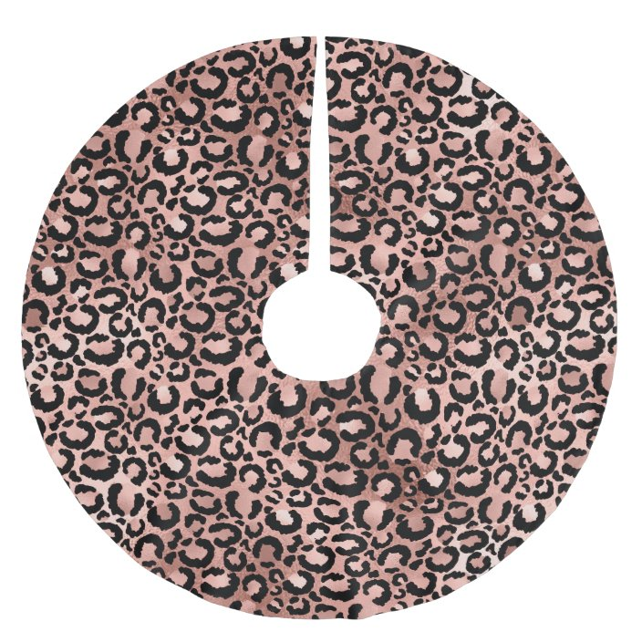 Rose Gold And Black Leopard Spots Brushed Polyester Tree Skirt Zazzle Com