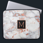 "rose gold and black monogram on marble computer sleeve<br><div class=""desc"">monogram on marble</div>"