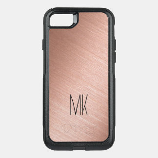 Rose Gold and Black Monogram OtterBox Commuter iPhone 7 Case