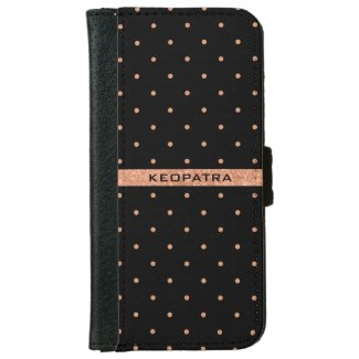 Rose-Gold And Black Polka Dots Pattern