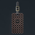 """Rose Gold and Black quatrefoil Luggage Tag<br><div class=""""desc"""">Travel the world with our rose gold and black quatrefoil Luggage Tag</div>"""