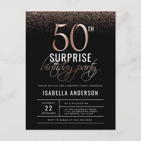 Rose Gold And Black Surprise 50th Birthday Party Invitation Postcard