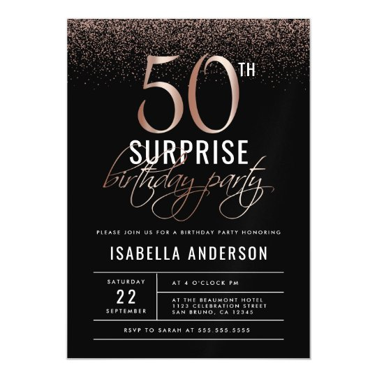 Rose gold and black surprise 50th birthday party magnetic invitation rose gold and black surprise 50th birthday party magnetic invitation filmwisefo