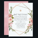 "Rose Gold and Blush Pink Floral Bat Mitzvah Invitation<br><div class=""desc"">Blush pink and rose gold rose watercolor bat mitzvah invitation with accents of sage green adorning a gold geometric frame.</div>"