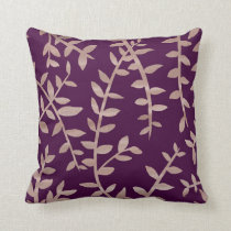 Rose gold and dark purple leaf pattern cushion