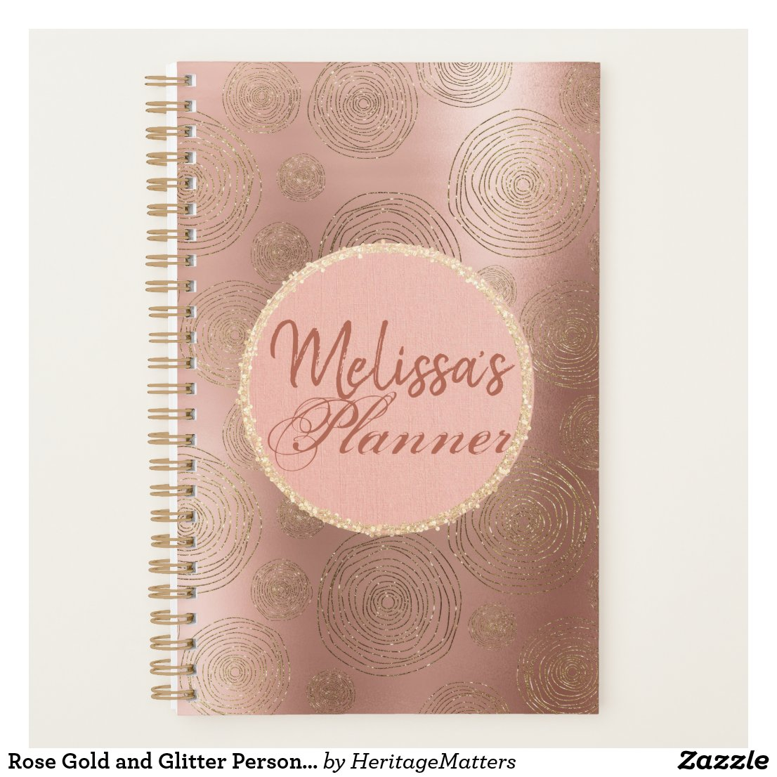 Rose Gold and Glitter Personalized Planner