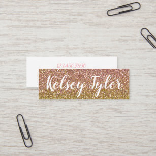 rose gold and gold glitter mini business cards - Mini Business Cards