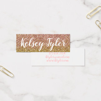 Mini business cards templates zazzle rose gold and gold glitter mini business cards reheart Image collections