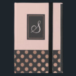 "Rose Gold and Gray Monogrammed iPad Mini Case<br><div class=""desc"">Stylish iPad Mini folio style case done in blush, with a rose gold and dark gray polka dot pattern, across the bottom of the case. The front of the case has a gray and rose gold accented rectangle, with a beige one letter monogram ready to personalize. What a lovely gift...</div>"