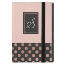 Rose Gold and Gray Monogrammed iPad Mini Case