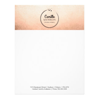 Rose Gold and Hearts Customizable Letterhead
