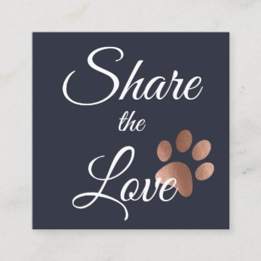 Rose Gold And Navy Blue Paw Print Animal Referral Card