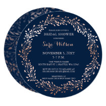 rose gold and navy Floral Bridal Shower Invitation