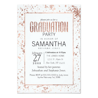 Rose Gold and Paint Splatters Graduation Party Card