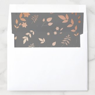 Rose Gold and Slate Gray Floral Envelope Liner