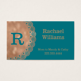 Rose Gold and Teal Monogram Mommy Play Date Card
