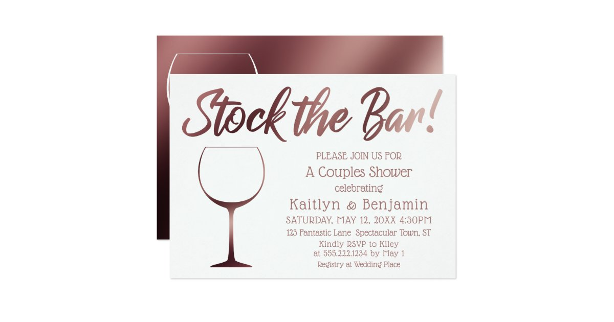 Rose Gold and White Stock the Bar Couples Shower Invitation | Zazzle.com