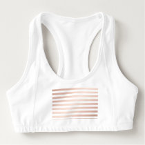 rose gold and white stripes, modern pattern,trendy sports bra