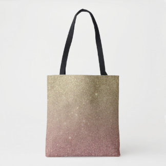 Rose Gold and Yellow Gold Glitter Mesh Tote Bag