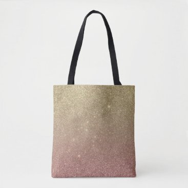 BlackStrawberry_Co Rose Gold and Yellow Gold Glitter Mesh Tote Bag