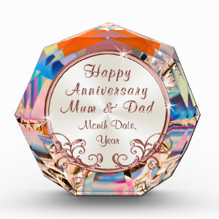 Rose Gold Anniversary Presents For Mum And Dad Acrylic Award