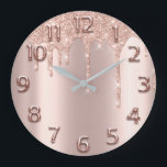 """Rose Gold Arabic Number Glitter Drip Blush Glitter Large Clock<br><div class=""""desc"""">Unique minimal and decorative  Corresponds to actual fashion trend in home decor. You can change the shape and color of the hand. florenceK</div>"""