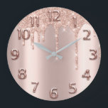 "Rose Gold Arabic Number Glitter Drip Blush Glitter Large Clock<br><div class=""desc"">Unique minimal and decorative  Corresponds to actual fashion trend in home decor. You can change the shape and color of the hand. florenceK</div>"