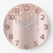 Rose Gold Arabic Number Glitter Drip Blush Glitter Large Clock