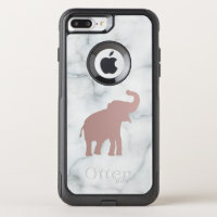 rose gold baby elephant on marble OtterBox commuter iPhone 8 plus/7 plus case