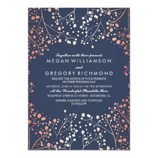 Rose Gold Baby's Breath Floral Navy Simple Wedding Card