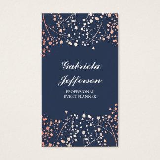 Rose Gold Baby's Breath Floral Vintage Elegant Business Card