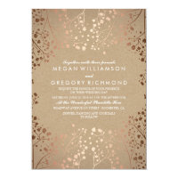 Rose Gold Baby's Breath Floral Vintage Wedding Card