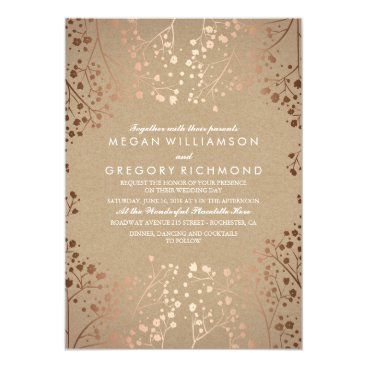 Toddler & Baby themed Rose Gold Baby's Breath Floral Vintage Wedding Card