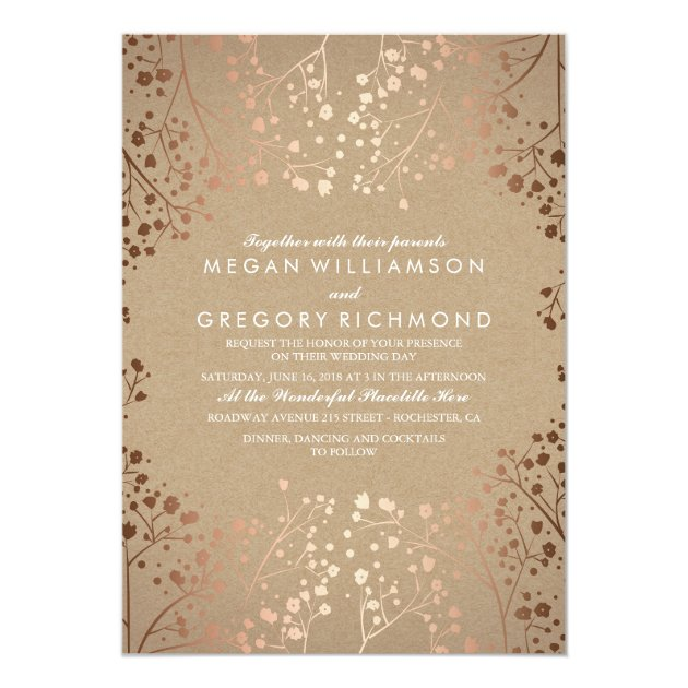 Winter forest pine trees elegant chic wedding invitation for Rose gold winter wedding invitations