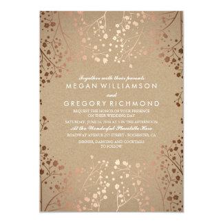 Rose Gold Baby's Breath Floral Vintage Wedding Invitation