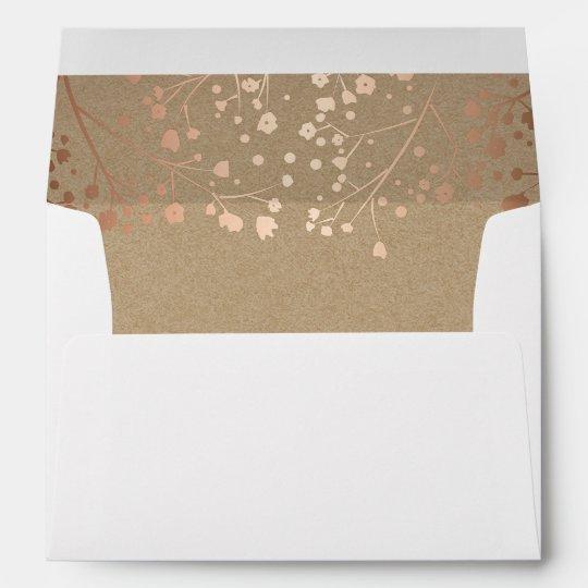 rose gold baby s breath flowers elegant wedding envelope zazzle com