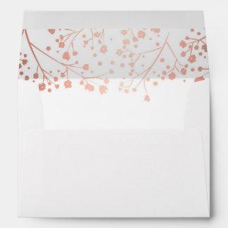 Rose Gold Baby's Breath Flowers Elegant Wedding Envelope