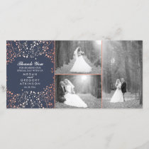 Rose Gold Baby's Breath Wedding Photo Thank You
