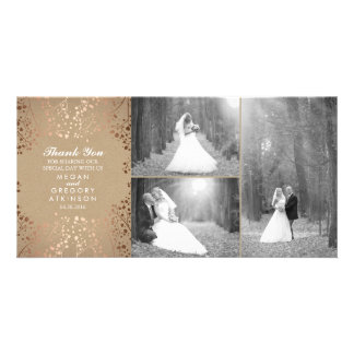 Rose Gold Baby's Breath Wedding Photo Thank You Card