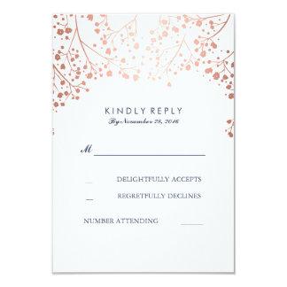Rose Gold Baby's Breath Wedding RSVP Cards