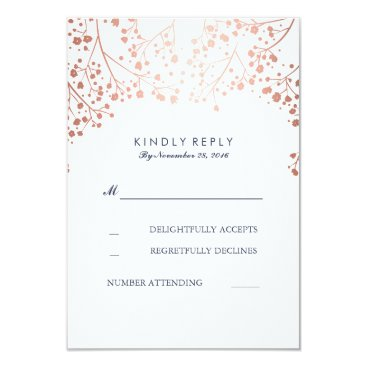 Toddler & Baby themed Rose Gold Baby's Breath Wedding RSVP Cards