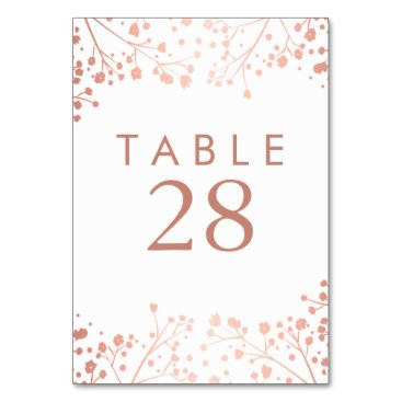 Toddler & Baby themed Rose Gold Baby's Breath Wedding Table Numbers